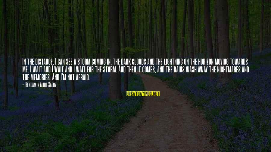 Coming Out Of The Storm Sayings By Benjamin Alire Saenz: In the distance, I can see a storm coming in, the dark clouds and the