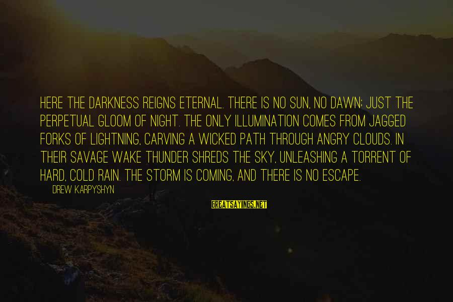 Coming Out Of The Storm Sayings By Drew Karpyshyn: HERE THE DARKNESS REIGNS ETERNAL. There is no sun, no dawn; just the perpetual gloom