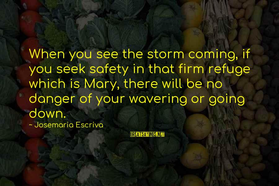 Coming Out Of The Storm Sayings By Josemaria Escriva: When you see the storm coming, if you seek safety in that firm refuge which
