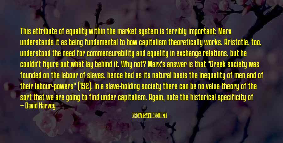 Commensurability Sayings By David Harvey: This attribute of equality within the market system is terribly important; Marx understands it as