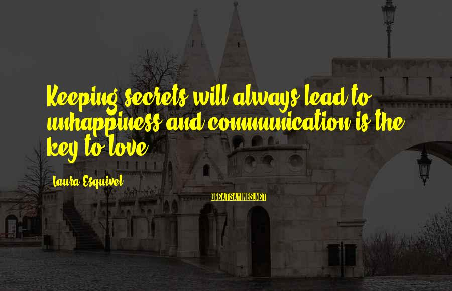 Communication And Love Sayings By Laura Esquivel: Keeping secrets will always lead to unhappiness and communication is the key to love.
