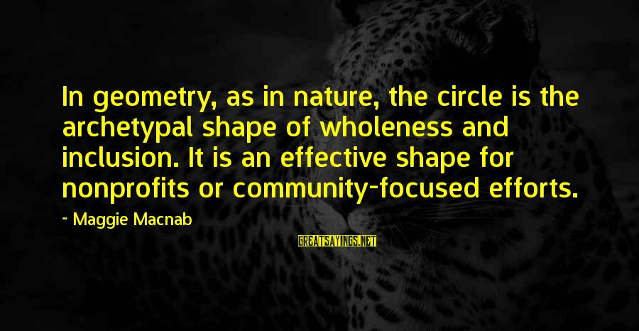Community Inclusion Sayings By Maggie Macnab: In geometry, as in nature, the circle is the archetypal shape of wholeness and inclusion.