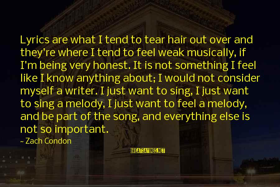 Community Inclusion Sayings By Zach Condon: Lyrics are what I tend to tear hair out over and they're where I tend