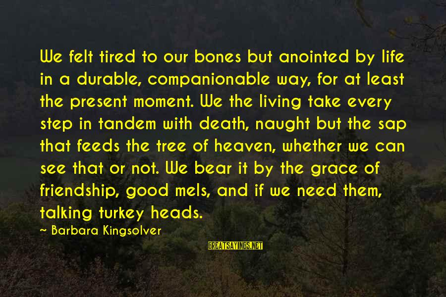 Companionable Sayings By Barbara Kingsolver: We felt tired to our bones but anointed by life in a durable, companionable way,