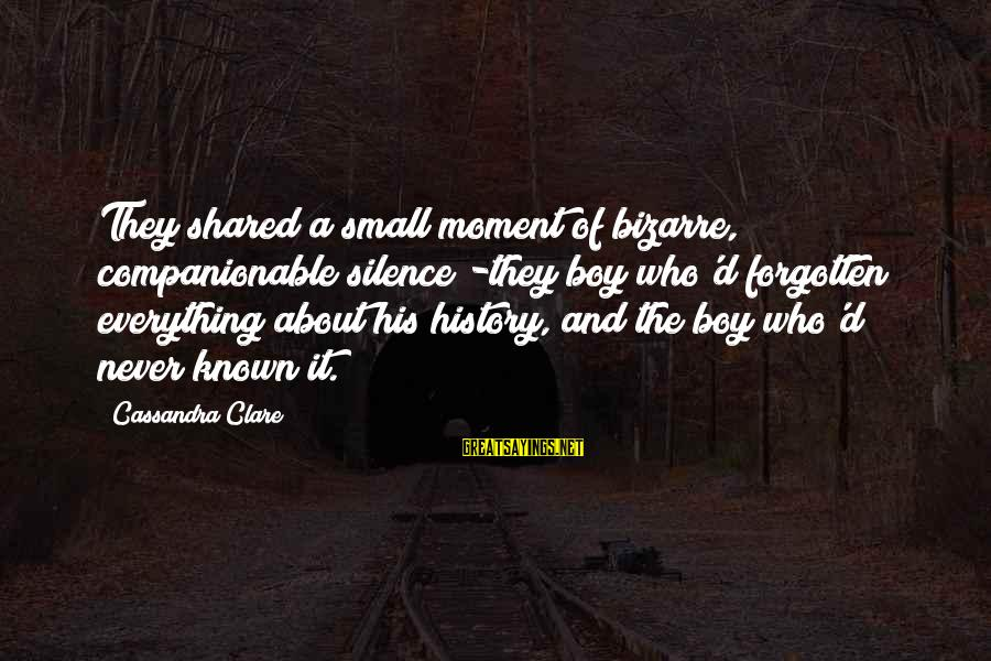 Companionable Sayings By Cassandra Clare: They shared a small moment of bizarre, companionable silence -they boy who'd forgotten everything about