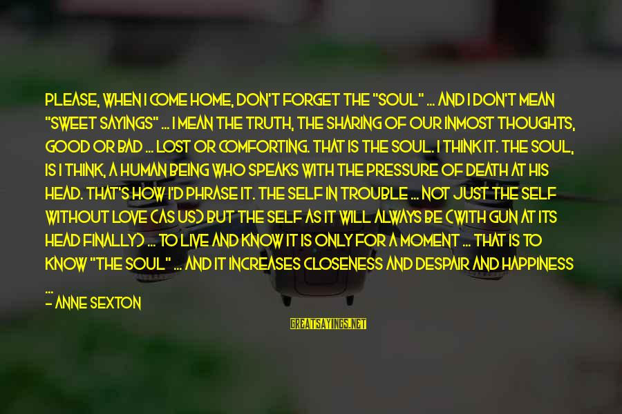 """Composite Front Door Sayings By Anne Sexton: Please, when I come home, don't forget the """"soul"""" ... and I don't mean """"sweet"""