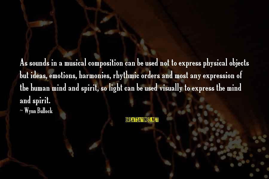 Composition In Art Sayings By Wynn Bullock: As sounds in a musical composition can be used not to express physical objects but
