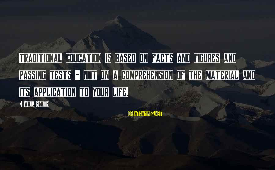 Comprehension Sayings By Will Smith: Traditional education is based on facts and figures and passing tests - not on a