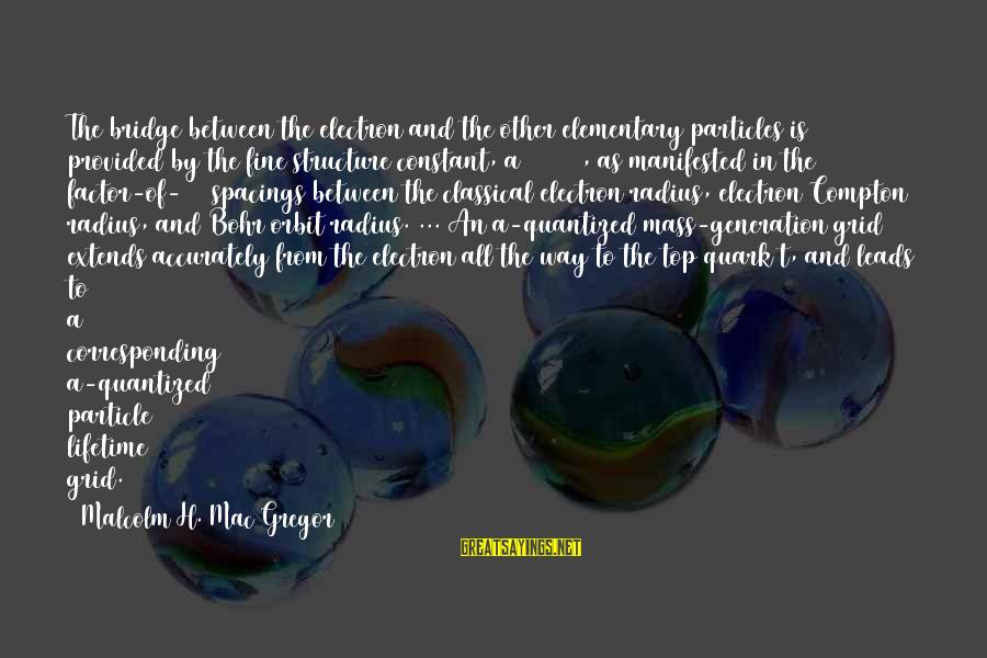 Compton's Sayings By Malcolm H. Mac Gregor: The bridge between the electron and the other elementary particles is provided by the fine