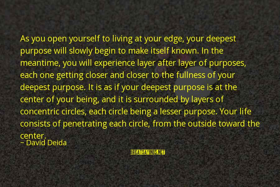 Concentric Circles Sayings By David Deida: As you open yourself to living at your edge, your deepest purpose will slowly begin