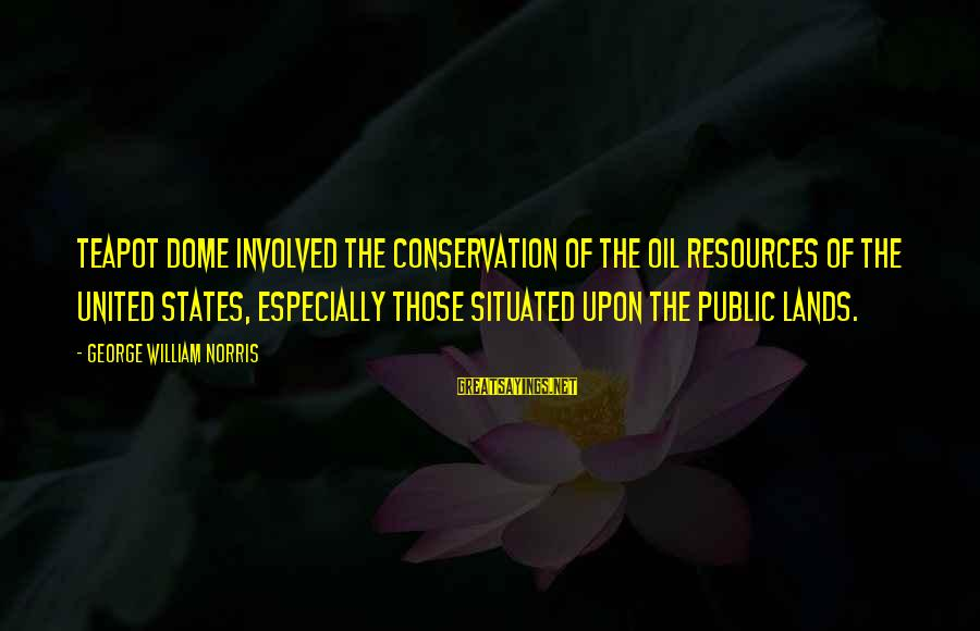 Conservation Of Oil Sayings By George William Norris: Teapot Dome involved the conservation of the oil resources of the United States, especially those