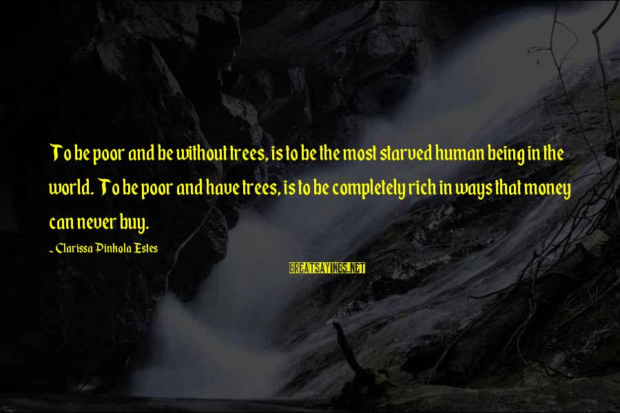 Conservation Of Trees Sayings By Clarissa Pinkola Estes: To be poor and be without trees, is to be the most starved human being