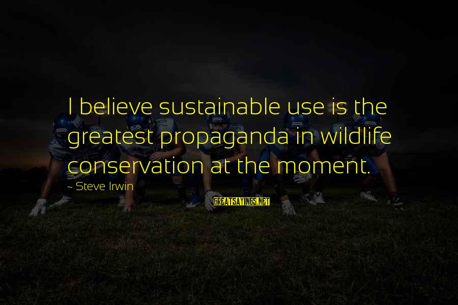Conservation Of Wildlife Sayings By Steve Irwin: I believe sustainable use is the greatest propaganda in wildlife conservation at the moment.