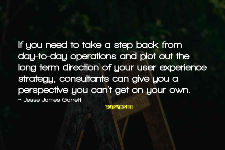 Consultants Sayings By Jesse James Garrett: If you need to take a step back from day-to-day operations and plot out the