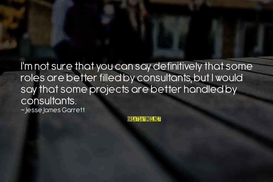 Consultants Sayings By Jesse James Garrett: I'm not sure that you can say definitively that some roles are better filled by