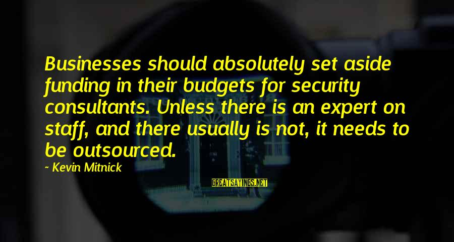 Consultants Sayings By Kevin Mitnick: Businesses should absolutely set aside funding in their budgets for security consultants. Unless there is