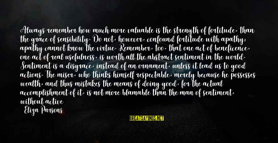 Contemplated Sayings By Eliza Parsons: Always remember how much more valuable is the strength of fortitude, than the grace of