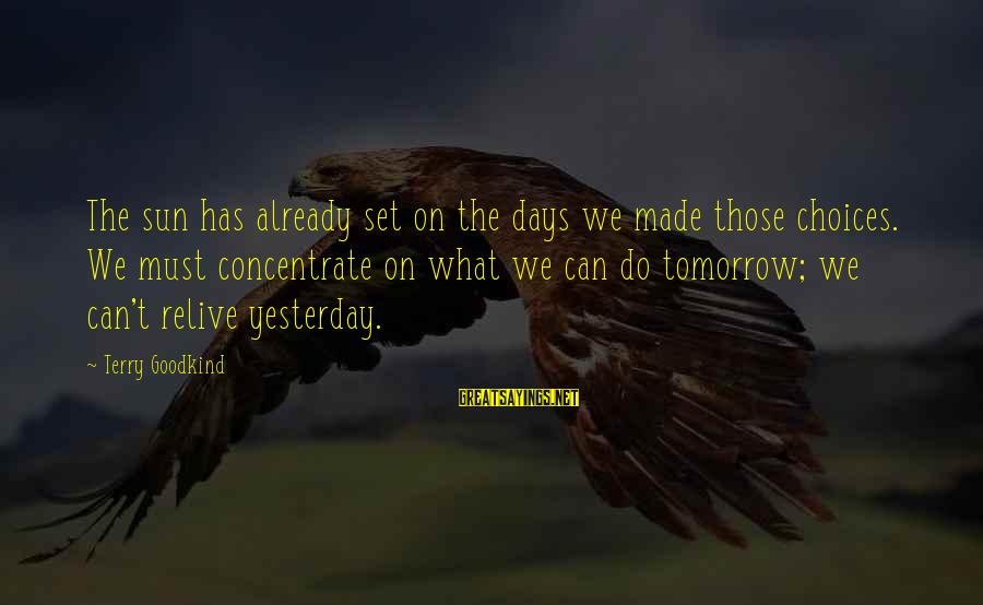 Contenment Sayings By Terry Goodkind: The sun has already set on the days we made those choices. We must concentrate