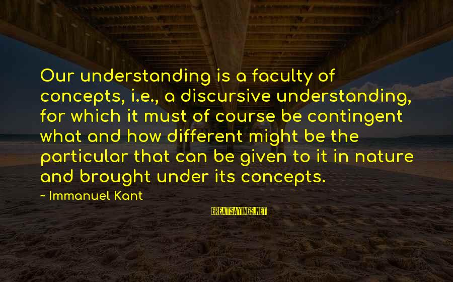 Contingent Sayings By Immanuel Kant: Our understanding is a faculty of concepts, i.e., a discursive understanding, for which it must