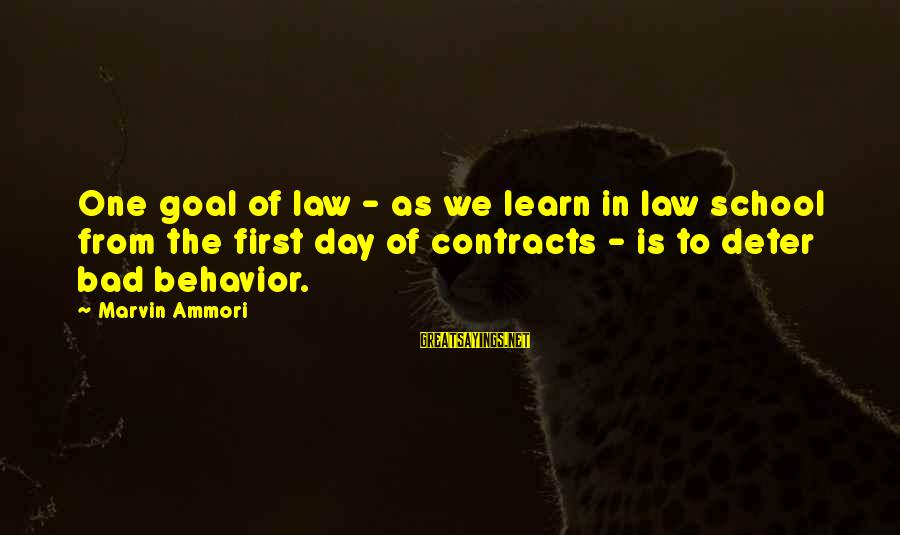 Contracts Law Sayings By Marvin Ammori: One goal of law - as we learn in law school from the first day