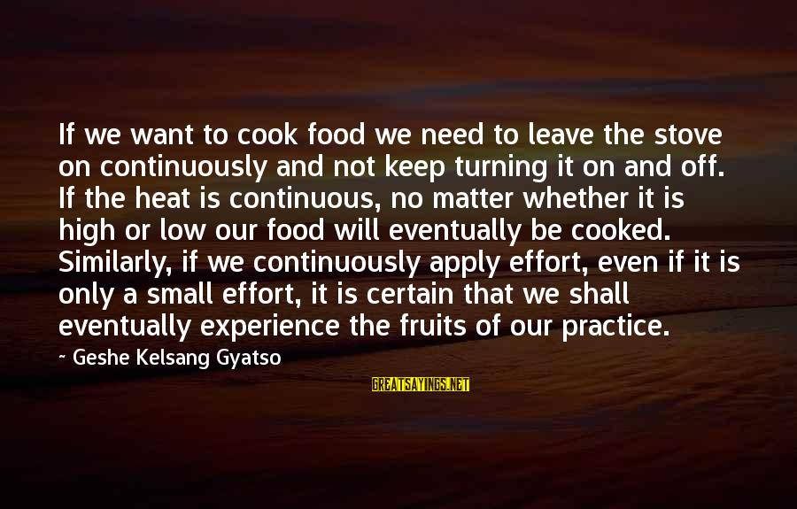 Cook Food Sayings By Geshe Kelsang Gyatso: If we want to cook food we need to leave the stove on continuously and