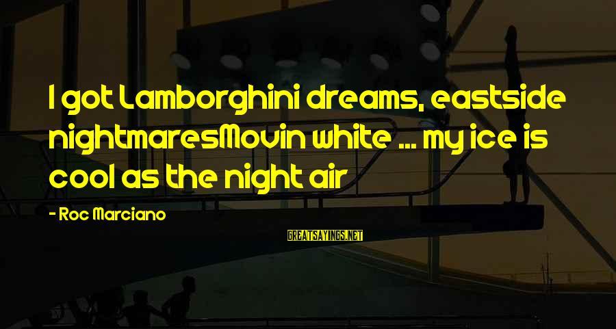 Cool Lamborghini Sayings By Roc Marciano: I got Lamborghini dreams, eastside nightmaresMovin white ... my ice is cool as the night