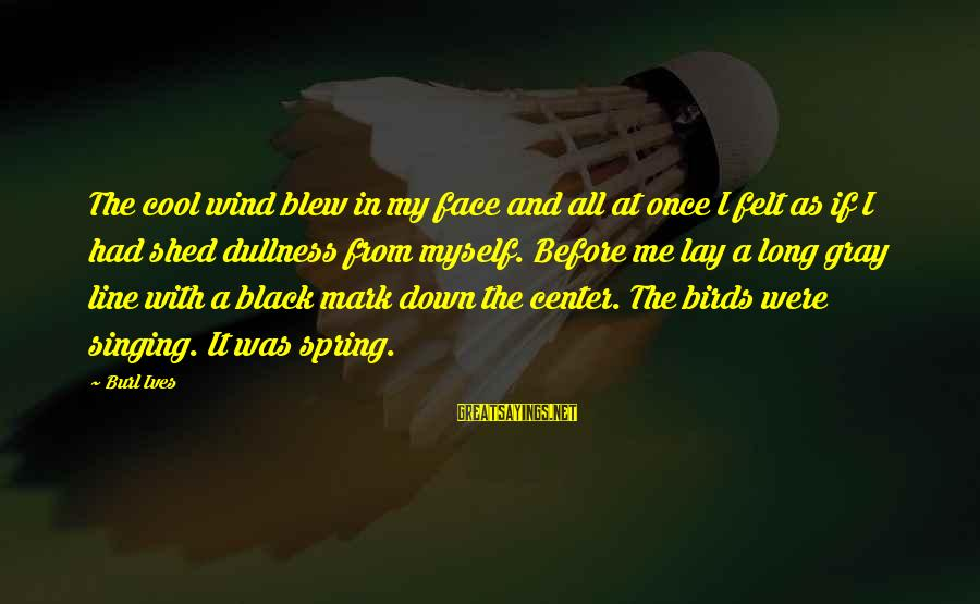 Cool Spring Sayings By Burl Ives: The cool wind blew in my face and all at once I felt as if