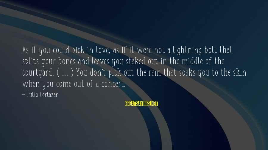 Cortazar Love Sayings By Julio Cortazar: As if you could pick in love, as if it were not a lightning bolt
