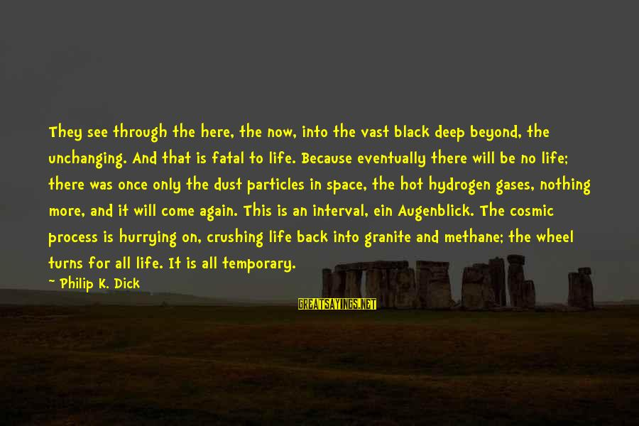 Cosmic Dust Sayings By Philip K. Dick: They see through the here, the now, into the vast black deep beyond, the unchanging.