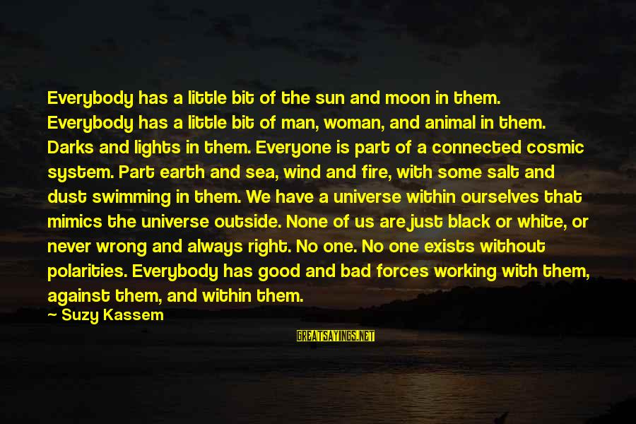 Cosmic Dust Sayings By Suzy Kassem: Everybody has a little bit of the sun and moon in them. Everybody has a