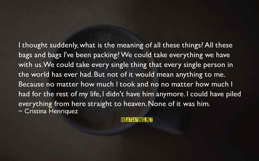 Could've Had Me Sayings By Cristina Henriquez: I thought suddenly, what is the meaning of all these things? All these bags and