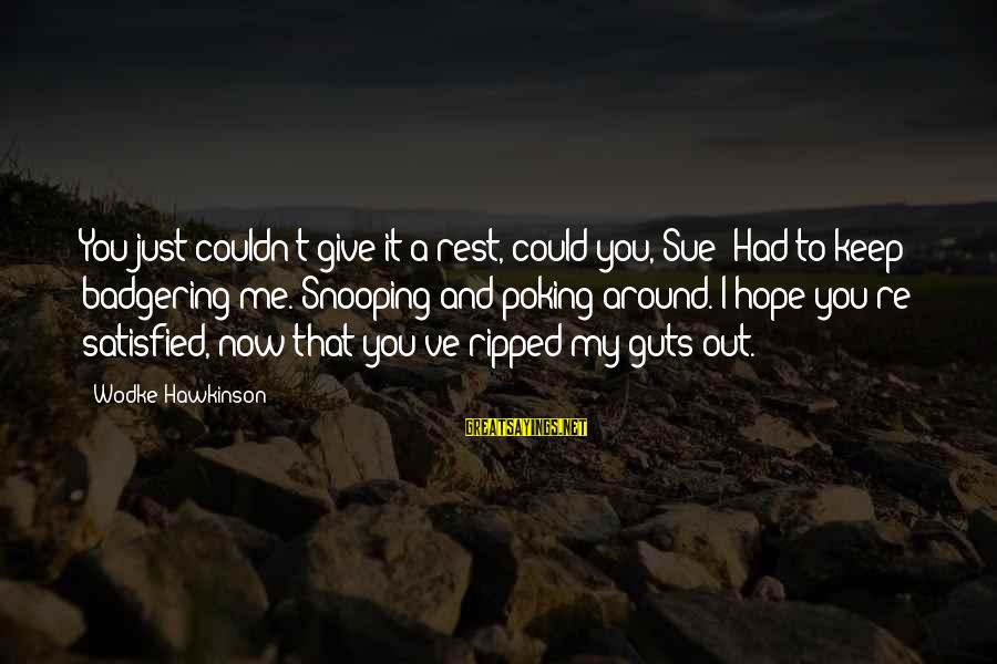 Could've Had Me Sayings By Wodke Hawkinson: You just couldn't give it a rest, could you, Sue? Had to keep badgering me.