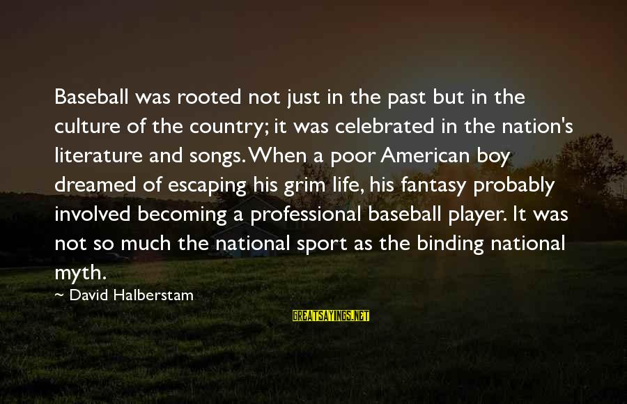 Country Boy Sayings By David Halberstam: Baseball was rooted not just in the past but in the culture of the country;
