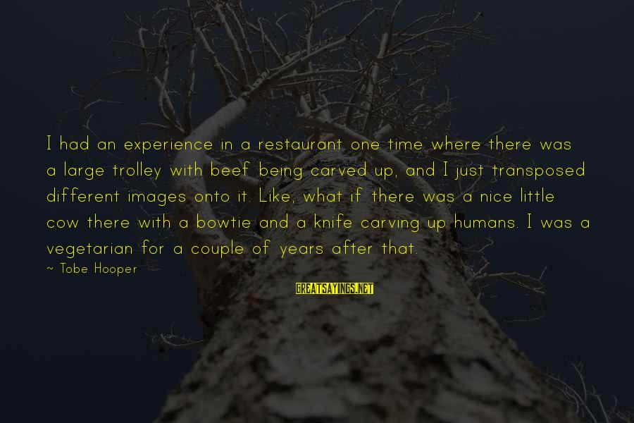 Couple Images With Sayings By Tobe Hooper: I had an experience in a restaurant one time where there was a large trolley