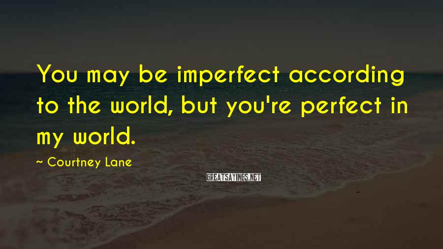 Courtney Lane Sayings: You may be imperfect according to the world, but you're perfect in my world.