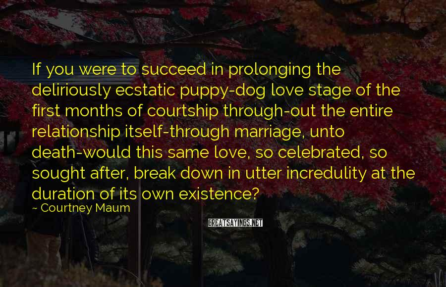 Courtney Maum Sayings: If you were to succeed in prolonging the deliriously ecstatic puppy-dog love stage of the
