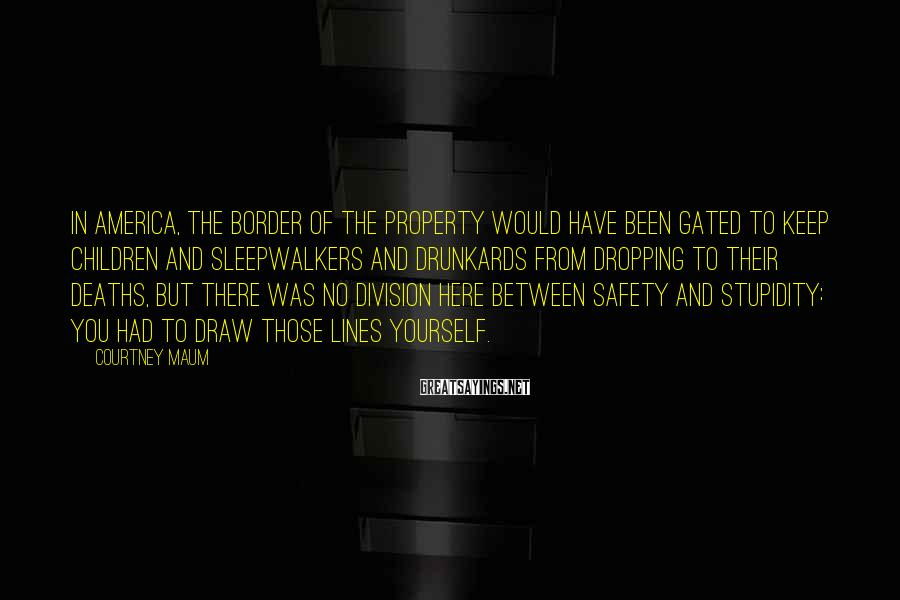 Courtney Maum Sayings: In America, the border of the property would have been gated to keep children and