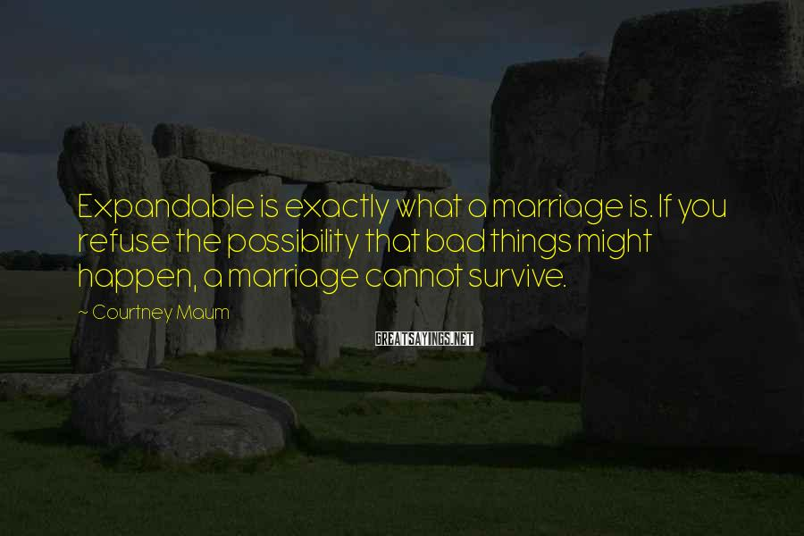 Courtney Maum Sayings: Expandable is exactly what a marriage is. If you refuse the possibility that bad things