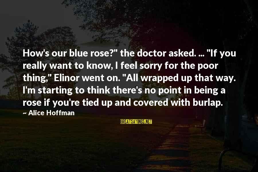"""Covered Up Sayings By Alice Hoffman: How's our blue rose?"""" the doctor asked. ... """"If you really want to know, I"""