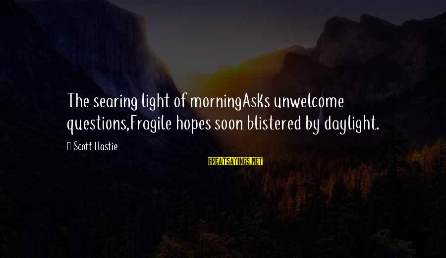 Crab Food Sayings By Scott Hastie: The searing light of morningAsks unwelcome questions,Fragile hopes soon blistered by daylight.