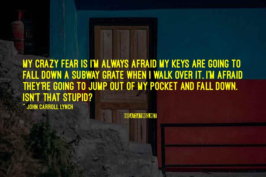 Crazy But Not Stupid Sayings By John Carroll Lynch: My crazy fear is I'm always afraid my keys are going to fall down a
