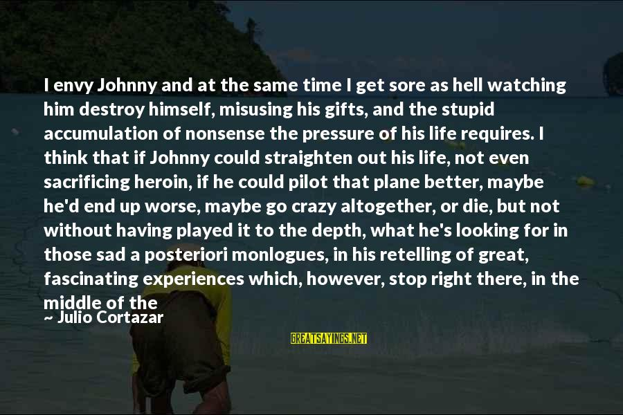 Crazy But Not Stupid Sayings By Julio Cortazar: I envy Johnny and at the same time I get sore as hell watching him