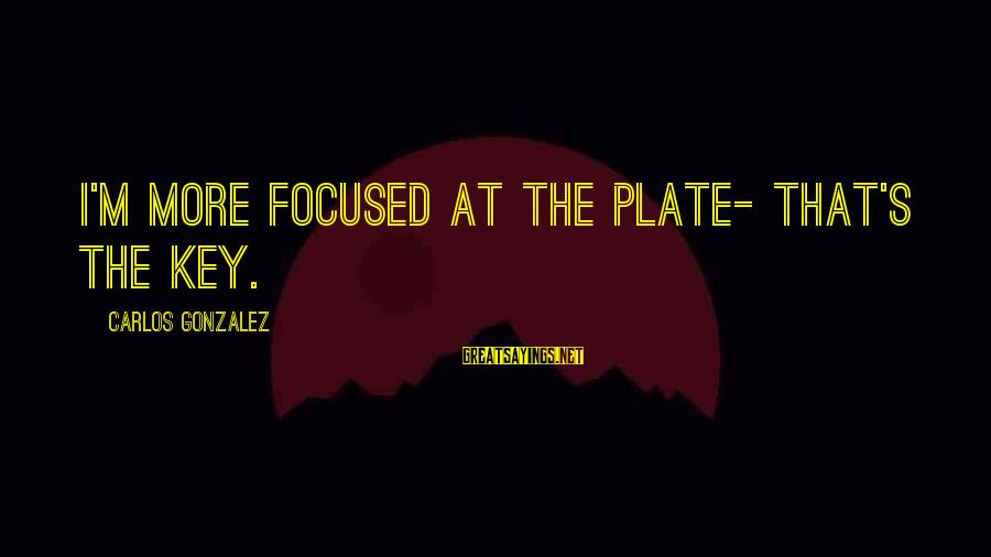 Crazy Steve Dora Sayings By Carlos Gonzalez: I'm more focused at the plate- that's the key.