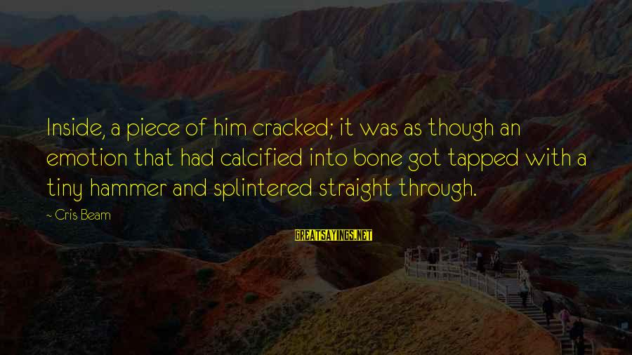 Cris Sayings By Cris Beam: Inside, a piece of him cracked; it was as though an emotion that had calcified