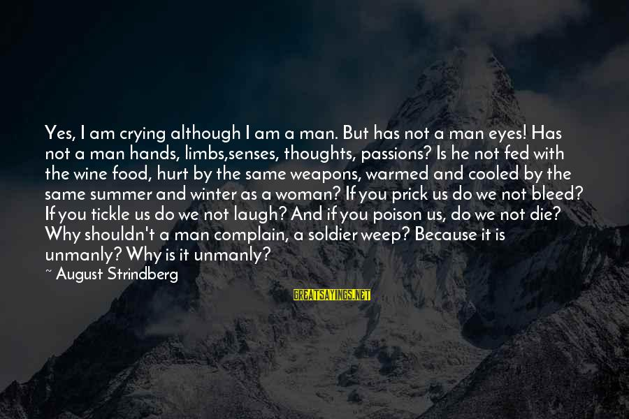Crying Man Sayings By August Strindberg: Yes, I am crying although I am a man. But has not a man eyes!