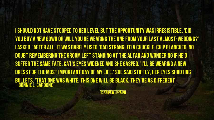 Dad Left Sayings By Bonnie J. Cardone: I should not have stooped to her level but the opportunity was irresistible. 'Did you