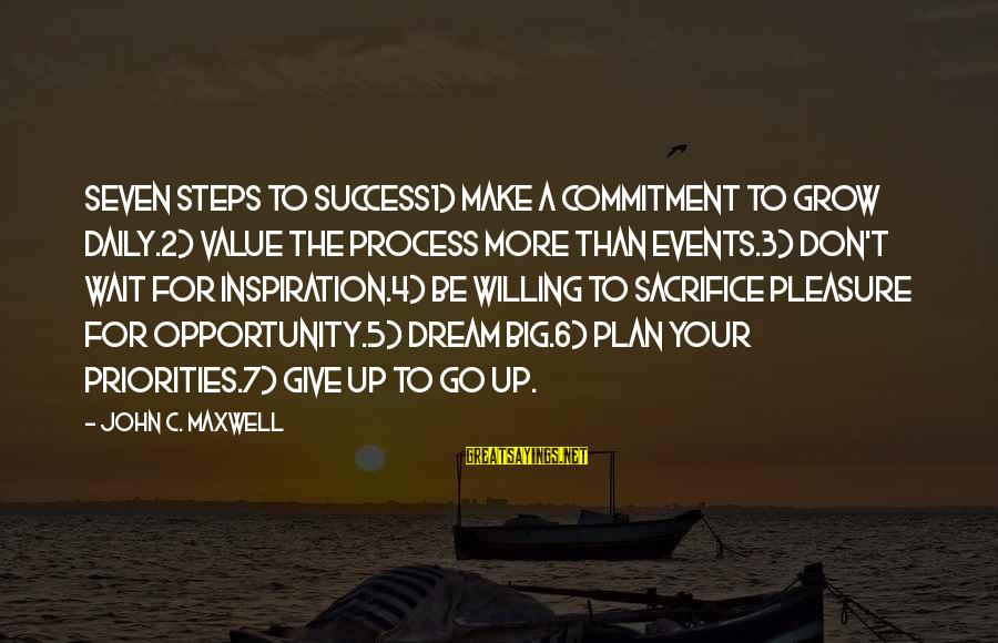 Daily Plan Sayings By John C. Maxwell: Seven Steps to Success1) Make a commitment to grow daily.2) Value the process more than