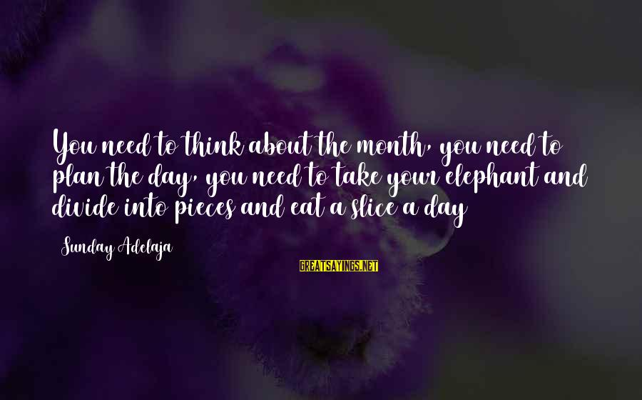 Daily Plan Sayings By Sunday Adelaja: You need to think about the month, you need to plan the day, you need