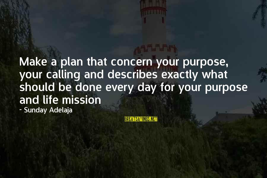 Daily Plan Sayings By Sunday Adelaja: Make a plan that concern your purpose, your calling and describes exactly what should be