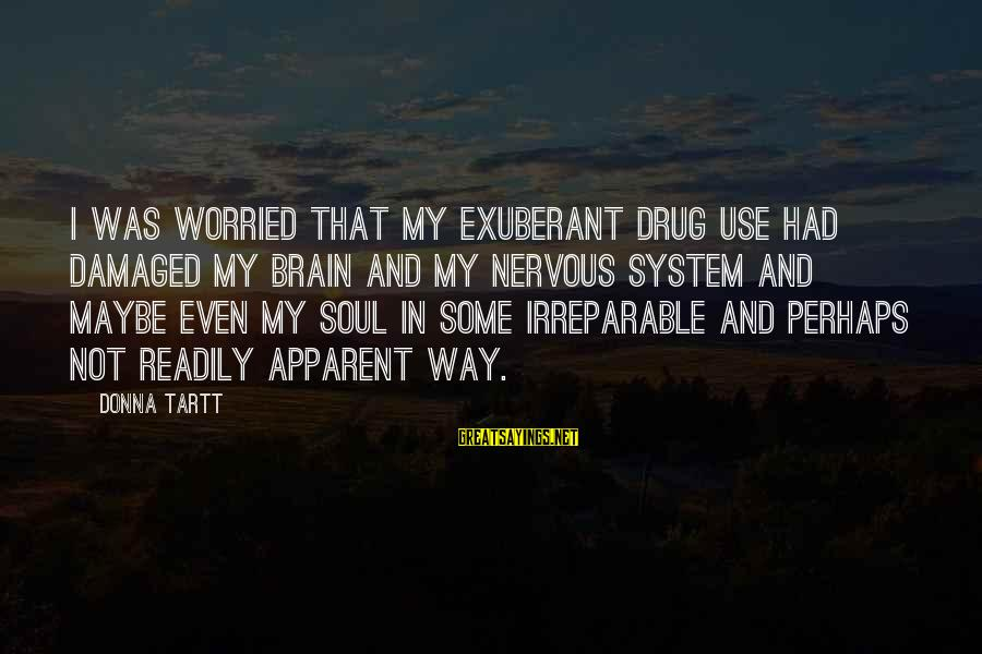 Damaged Soul Sayings By Donna Tartt: I was worried that my exuberant drug use had damaged my brain and my nervous